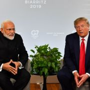 Indian Prime Minister Narendra Modi, left, and U.S. President Donald Trump speak during a bilateral meeting in Biarritz, France, on Aug. 26, 2019, on the third day of the annual G-7 summit.