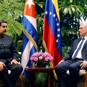 Cuban President Miguel Diaz-Canel and Venezuelan President Nicolas Maduro, left, meet at the Revolution Palace in Havana on April 21, 2018.