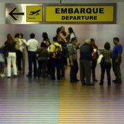 Venezuelans gather at the departure area of the Simón Bolívar International Airport in Caracas.