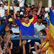 Henri Falcon, an opposition candidate in Venezuela's presidential elections, waves during the closing rally of his campaign ahead of the May 20 presidential election, which is largely expected to result in a win for the incumbent, President Nicolas Maduro.