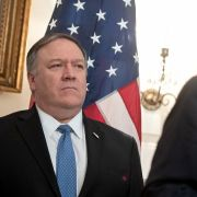 US President Donald Trump speaks alongside US Secretary of State Mike Pompeo (L) prior to signing a Proclamation on the Golan Heights in the Diplomatic Reception Room at the White House in Washington, DC, March 25, 2019, during a visit by Israeli Prime Minister Benjamin Netanyahu.