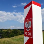 A Polish border post marks the NATO nation's frontier with alliance partner Lithuania and Russia's Kaliningrad region.