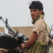 A southern Yemeni separatist holds position in Aden on Jan. 28.