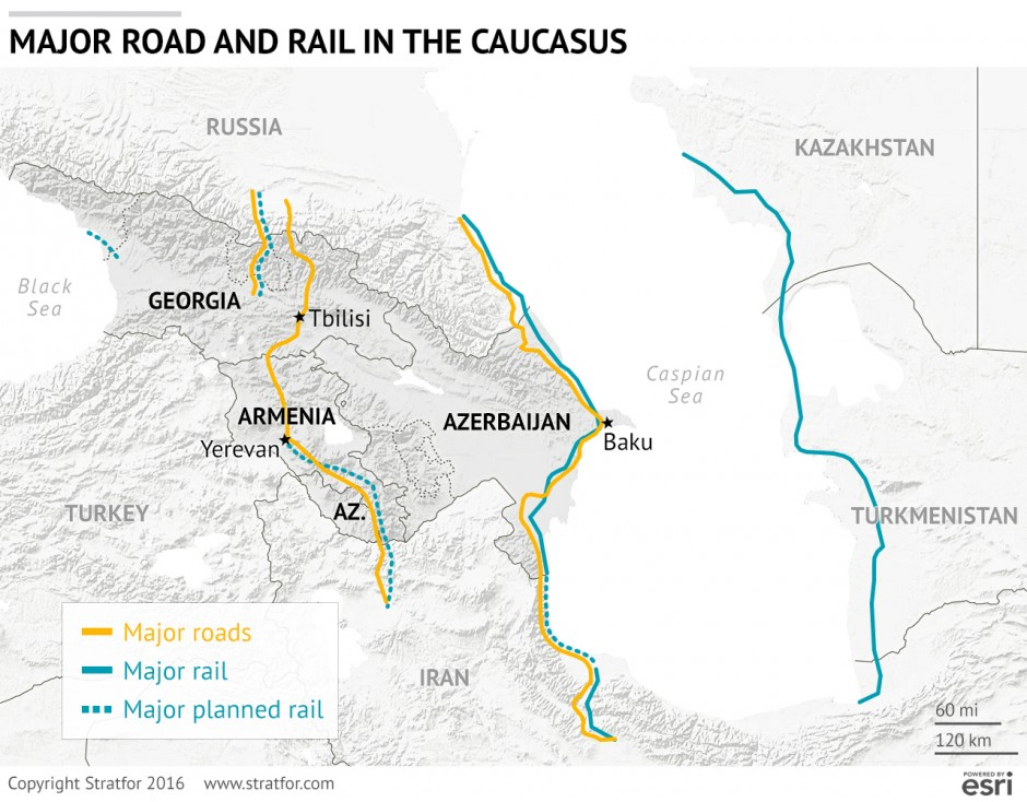 After Sanctions Irans Growing Role In The Caucasus Stratfor - Yerevan georgia map