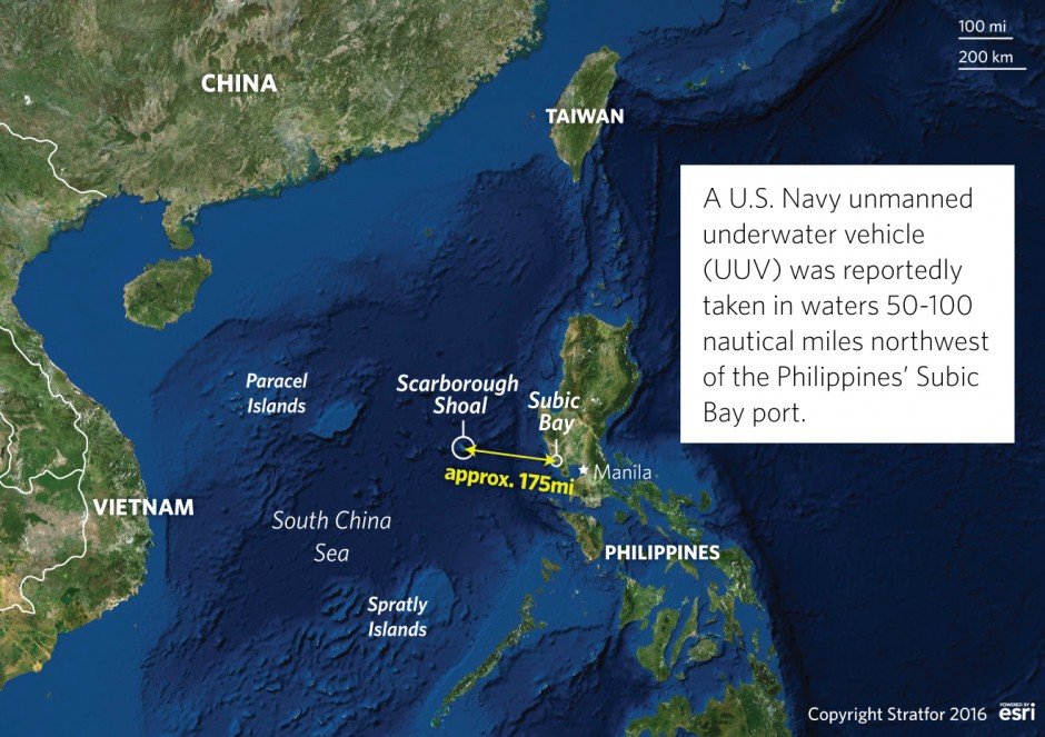 China Captures A US Navy Drone In The South China Sea - Map of us and china