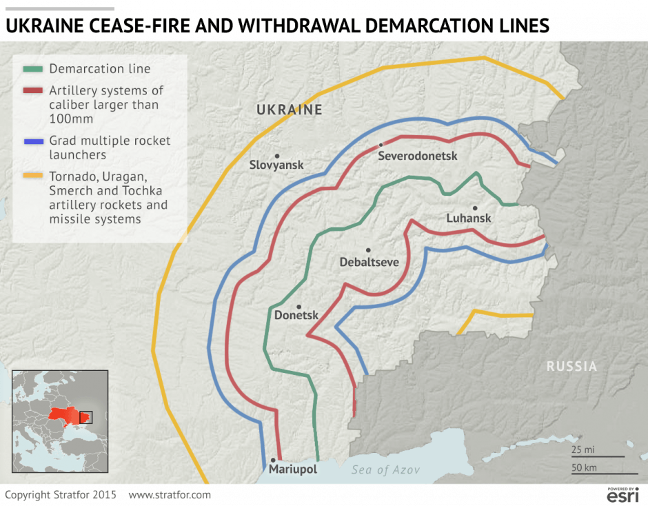 Ukraine Cease Fire And Withdrawal Demarcation Lines September 15 Stratfor
