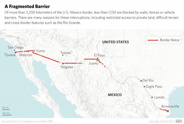 The Hurdles To Building A Border Wall Stratfor Worldview - Us border fence map