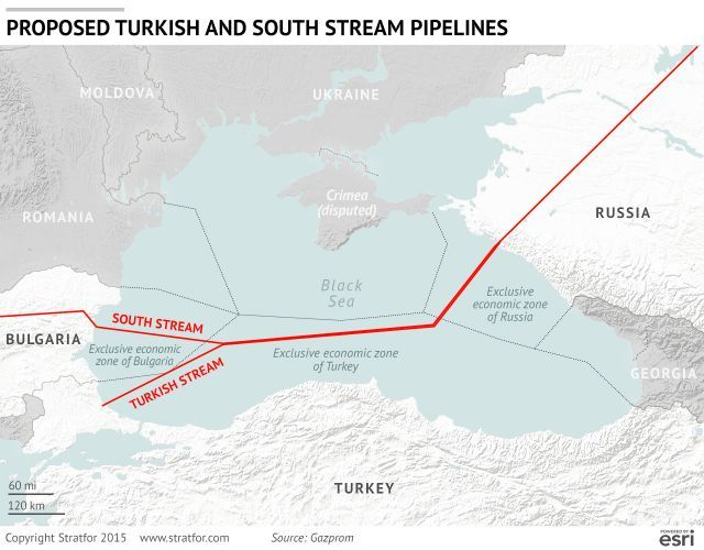 Proposed Turkish and South Stream Pipelines