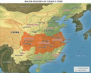 Major Regions of China's Core