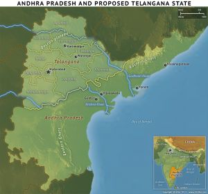 Map of Andhra Pradesh and the Proposed Telangana State