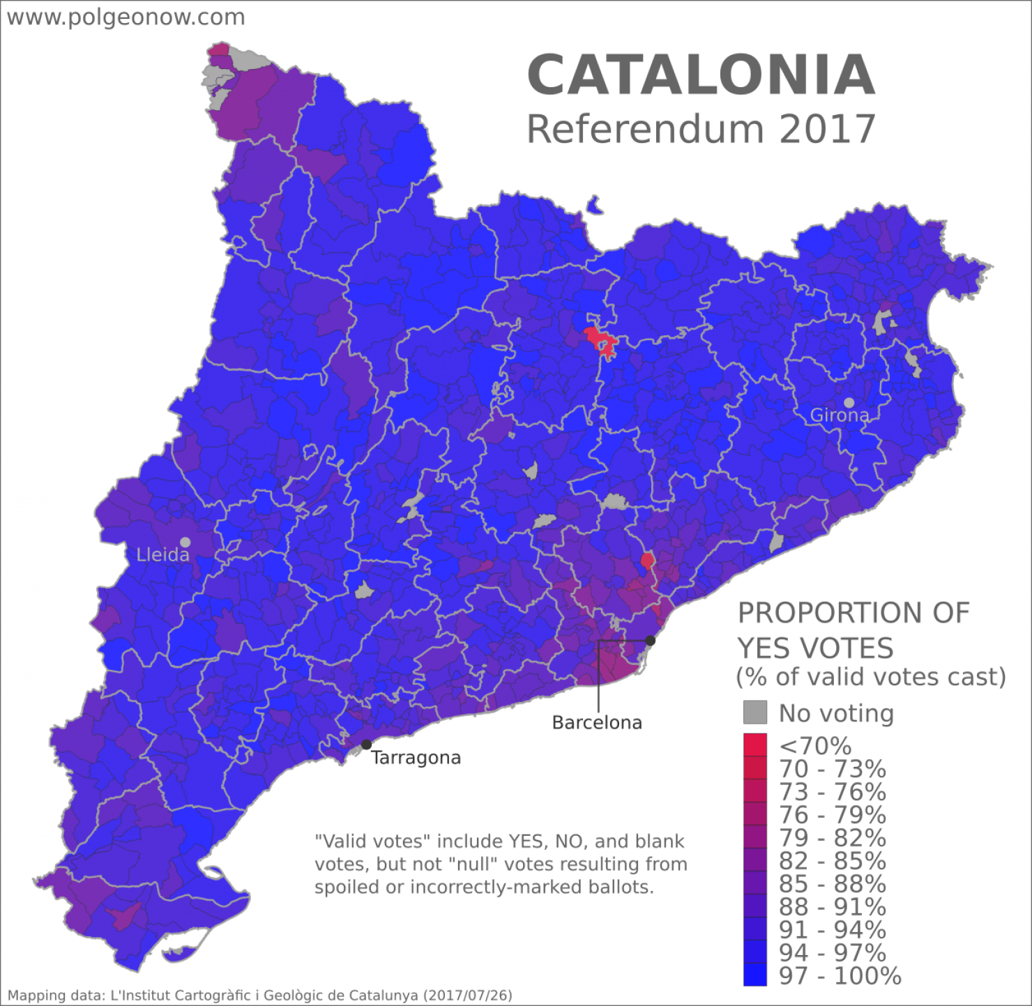 Catalonia Referendum: Detailed Results in 5 Maps on