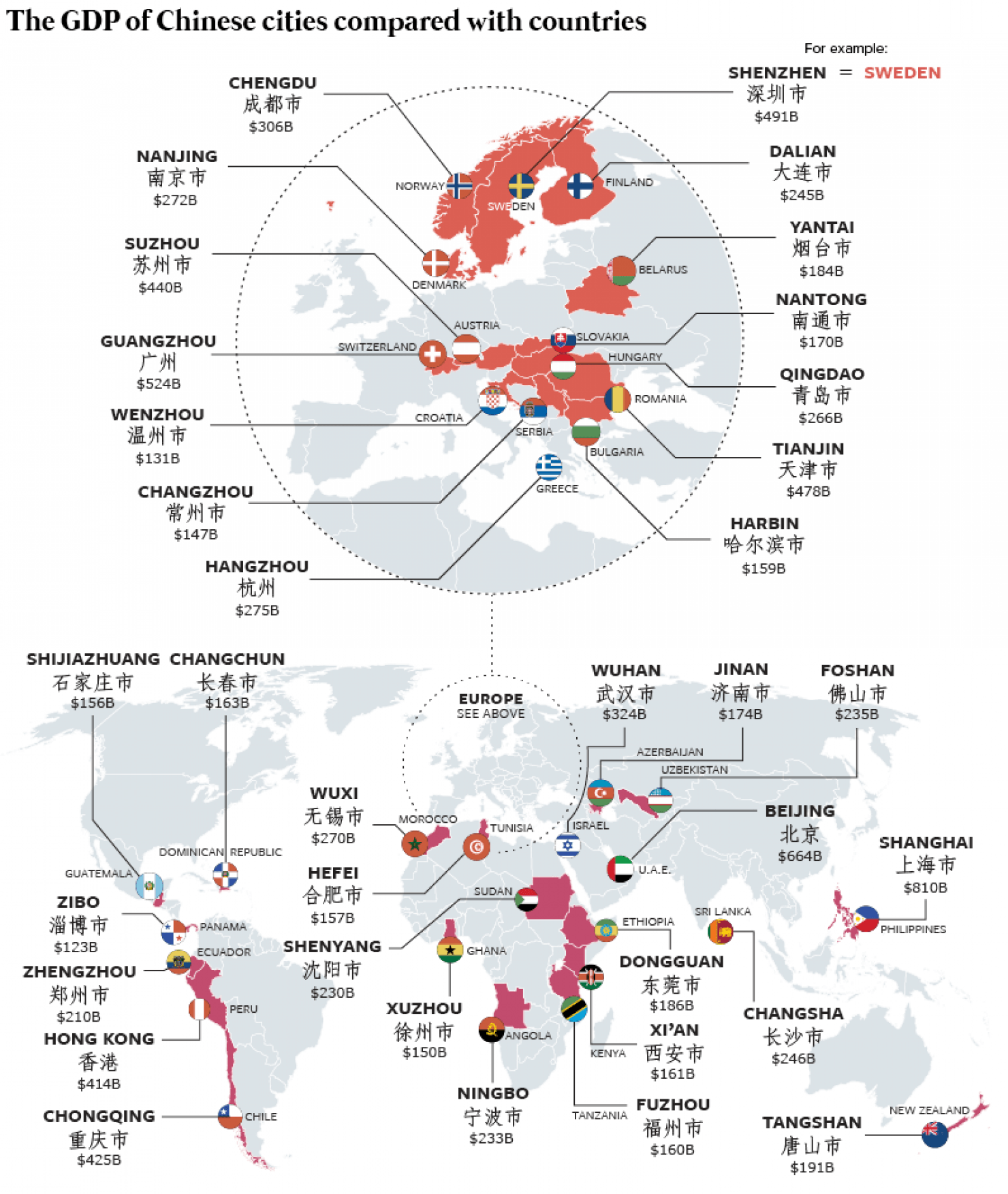 A graphic showing the GDP of Chinese cities compared with countries.