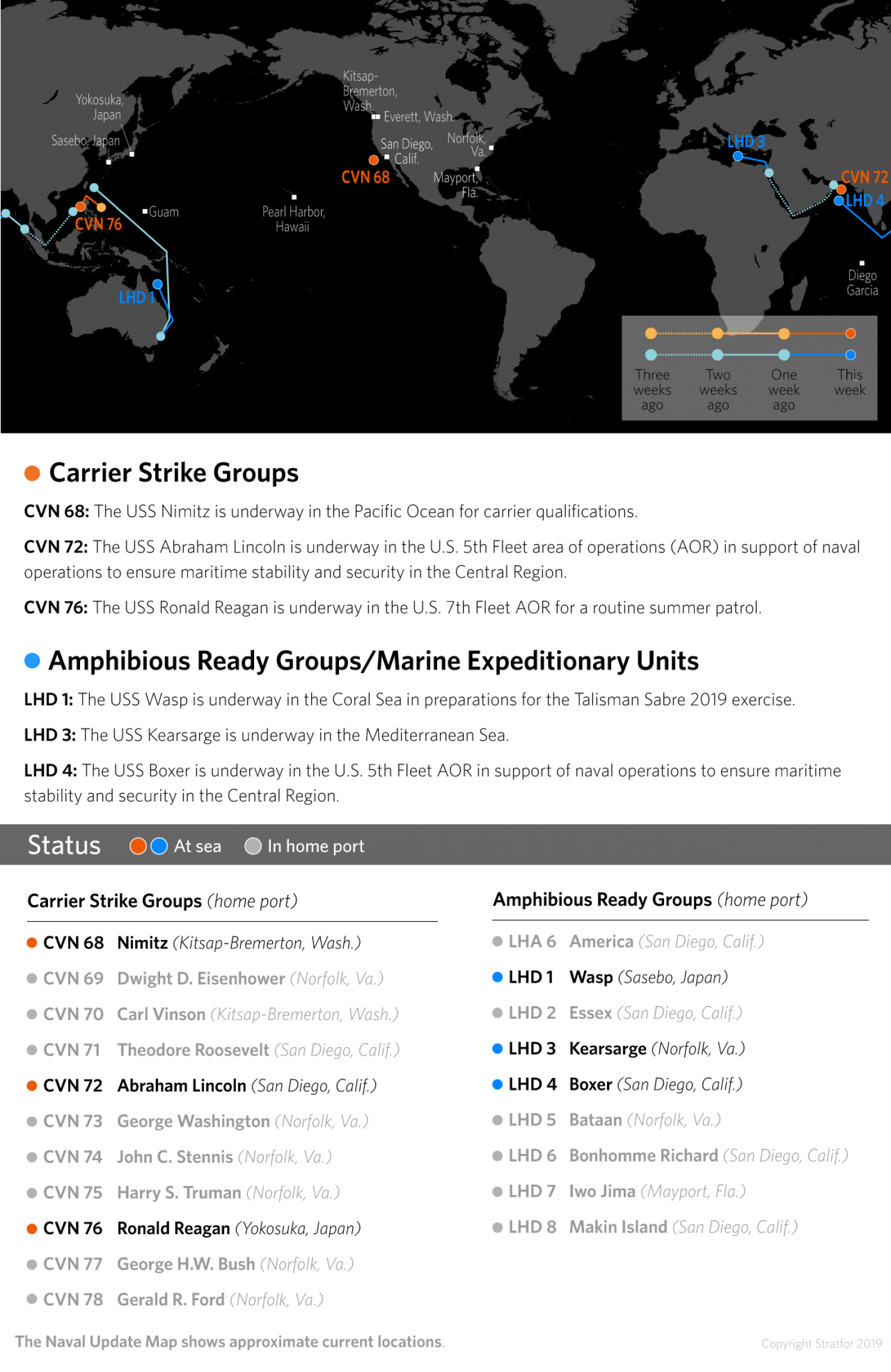 A map showing the location of U.S. Carrier Strike Groups and Amphibious Ready Groups/Marine Expeditionary Units