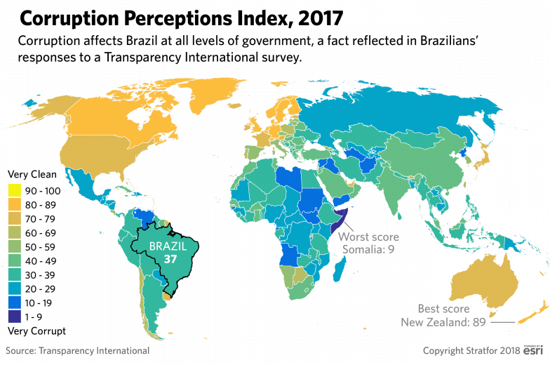 A map showing Transparency International's Corruption Perceptions Index for 2017.