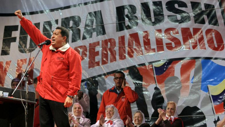 Venezuelan President Hugo Chavez speaks during an anti-imperialist rally at the 40,000-seat Buenos Aires stadium in 2007.