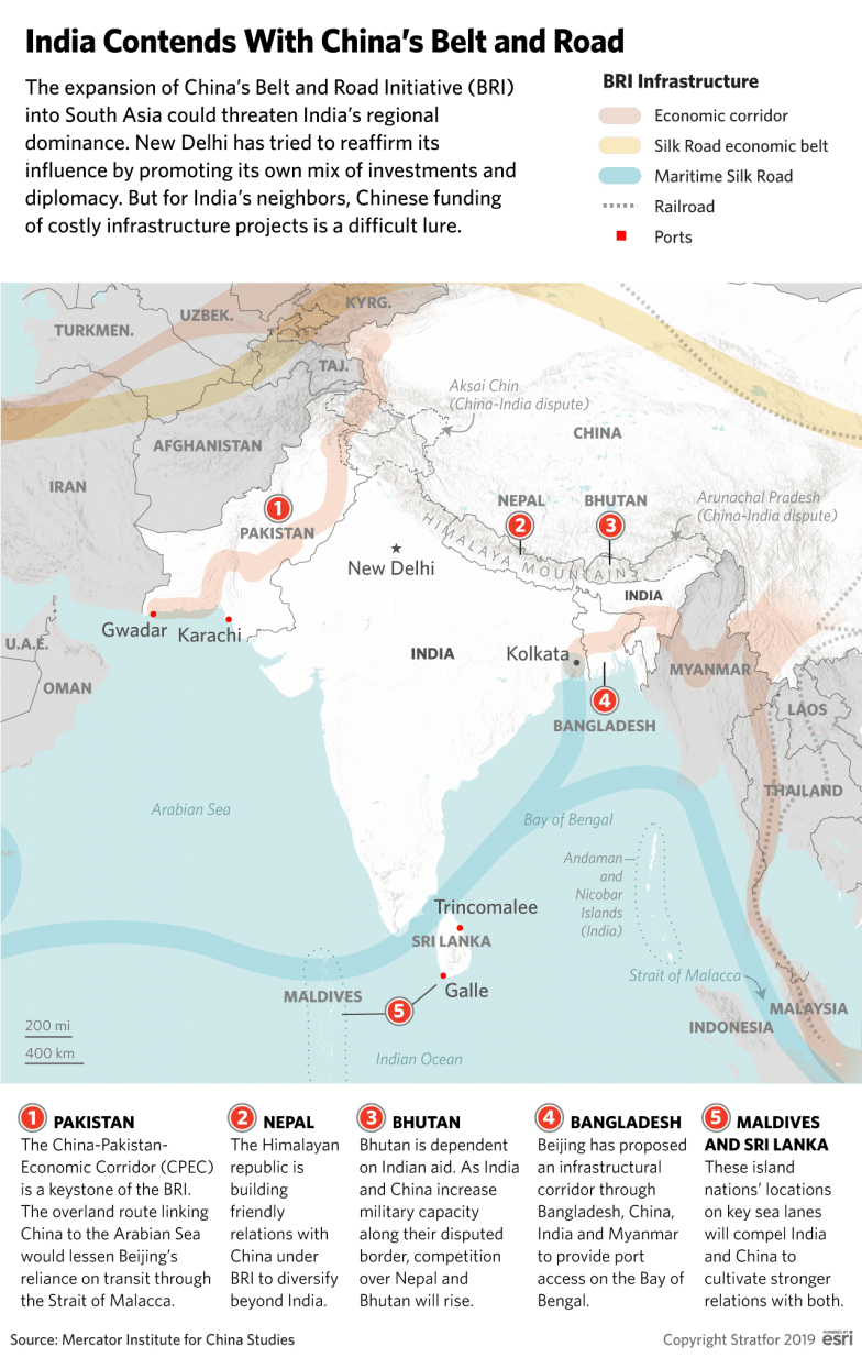 This map shows the inroads that China has made along India's periphery with its Belt and Road Initiative.