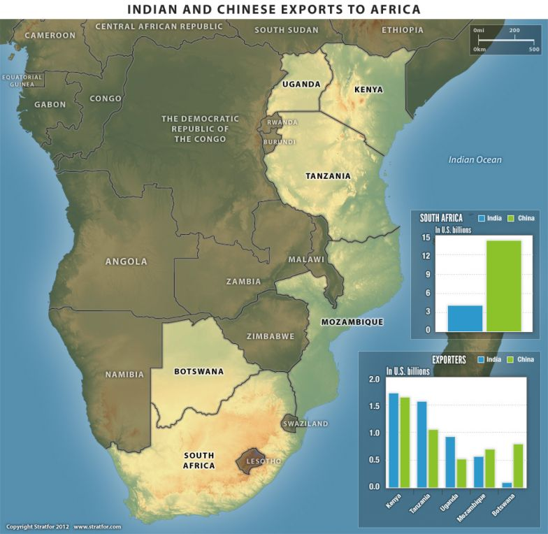 Map Of India And Africa.India S Growing Investment In East Africa