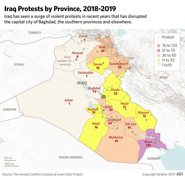 This map shows the total number of protests in Iraq's provinces in 2018 and 2019.