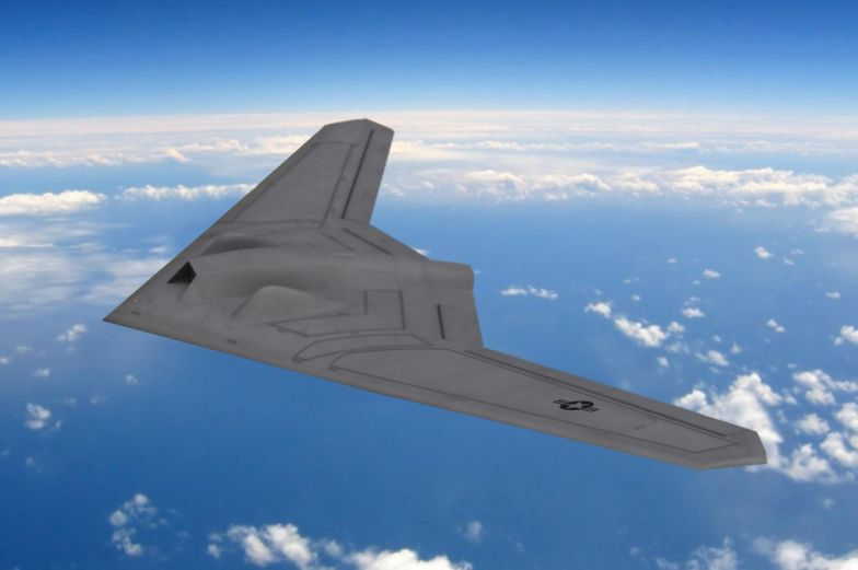 An artist's rendering of the RQ-170 Sentinel in flight.