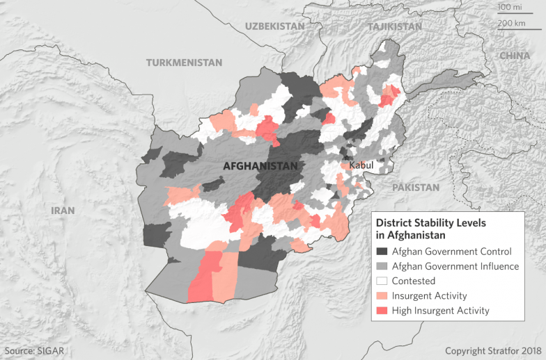 A map show the major areas of government and insurgent control in Afghanistan.