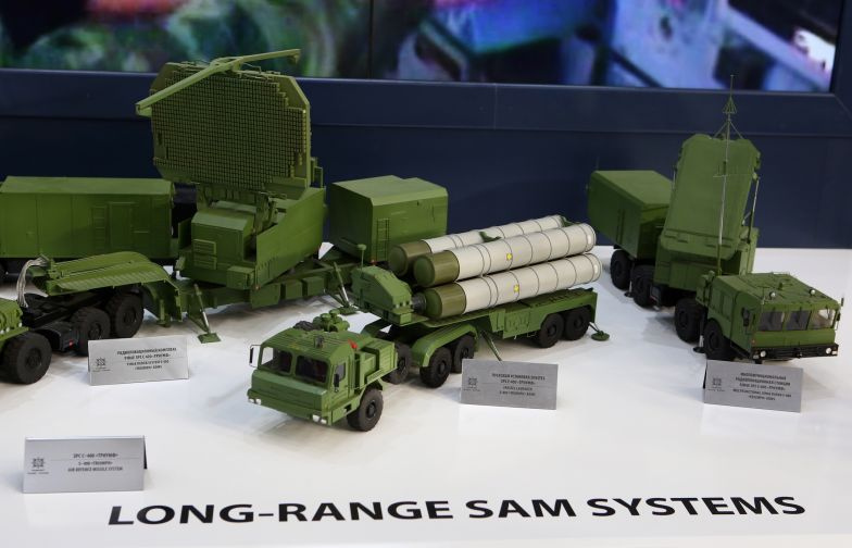 Models of components of the S-400 Triumph air defense missile system are on display at the 12th edition of Aero India Show, Aero India 2019.