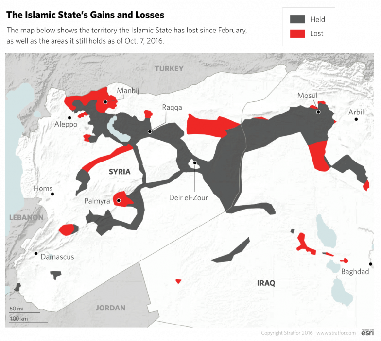 Islamic State-controlled territory in Syria and Iraq