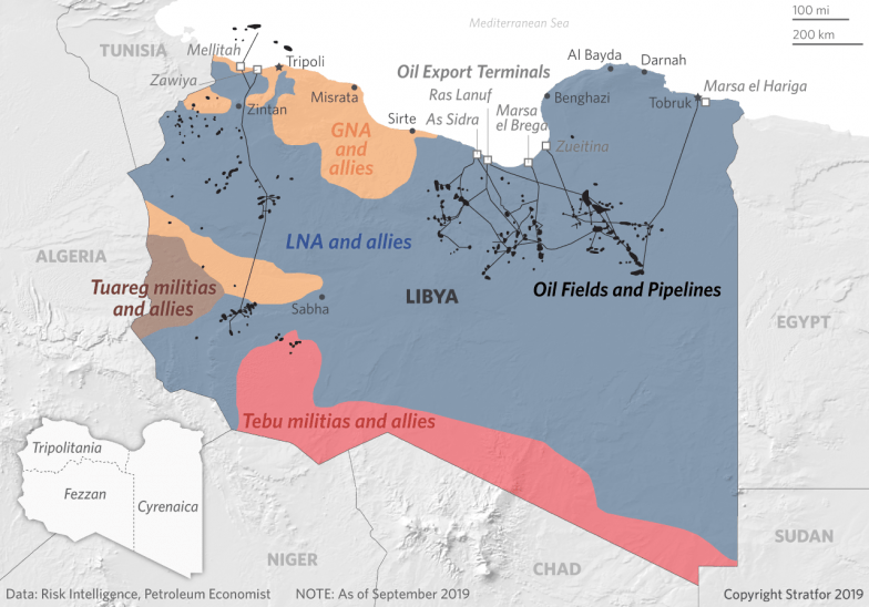 This map shows Libyan oil fields and export terminals and control of the country by its armed factions.