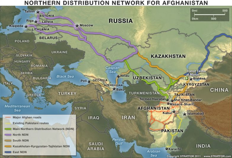 The U.S. Northern Distribution Network to Afghanistan Distribution Network Map on