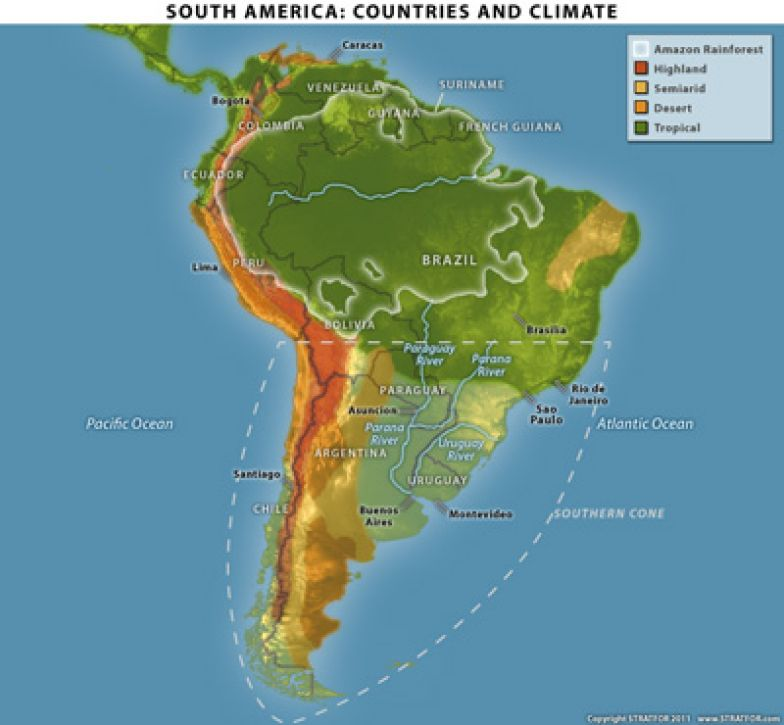 South America's Vegetation and Constraints on map of saint lucia highlands, peru highlands, map of guiana highlands, map of latin america and its landforms, map of argentina with lakes labeled, map of red sea highlands, map of scotland highlands,