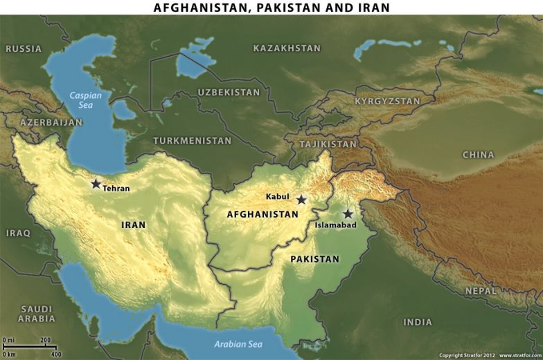 Map of Afghanistan, Pakistan and Iran