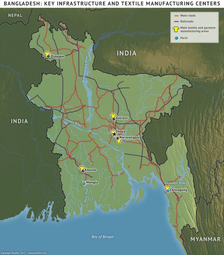 Bangladesh: Key Infrastructure and Textile Manufacturing Centers