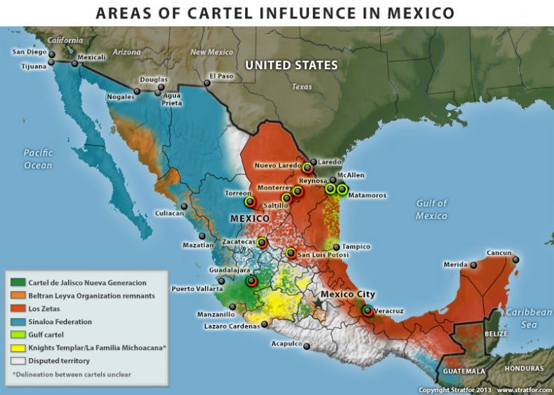 Areas of Cartel Influence in Mexico, Fourth Quarter 2013