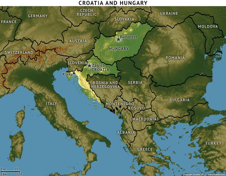 Map of Croatia and Hungary