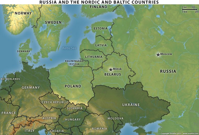 Russia and Nordic and Baltic Countries Map