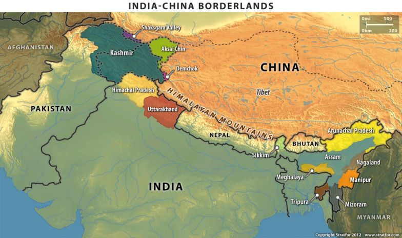 The Indian-Chinese Border on australia border map, russia border map, india border changes, spain border map, france border map, pakistan border map, western chinese border map, india china boundary map,