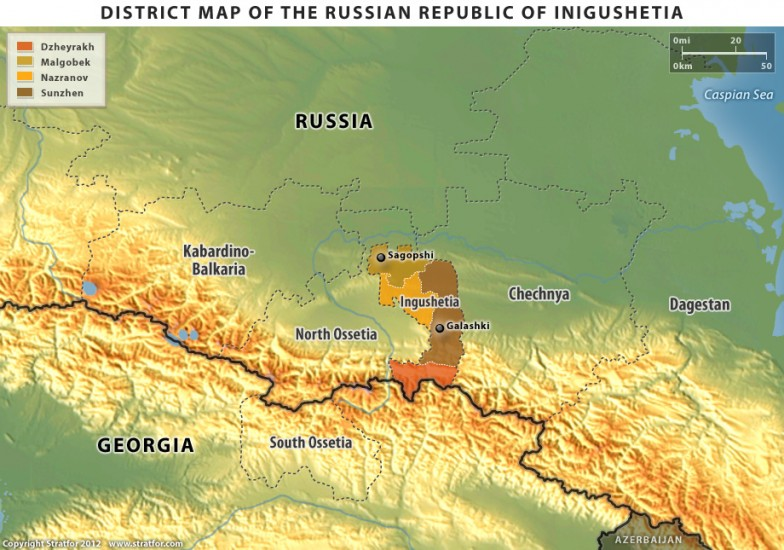 District Map of the Russian Republic of Ingushetia