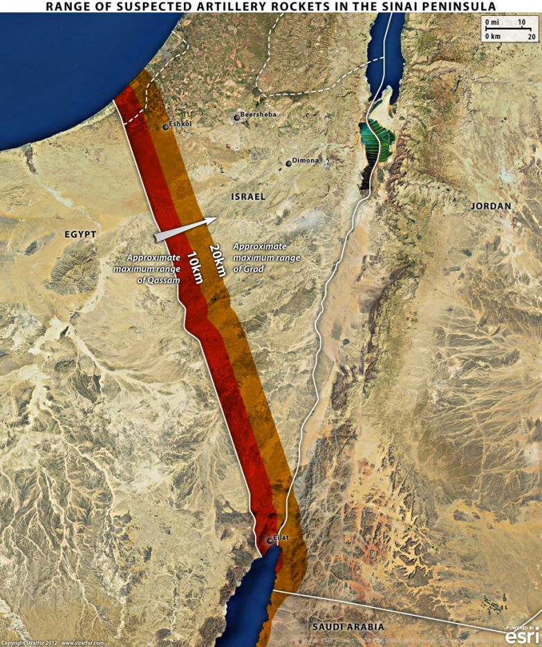 Range of Sinai Rockets Into Israel