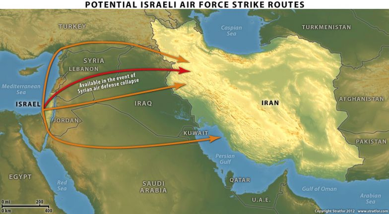 Israeli Air Force Strike Routes map