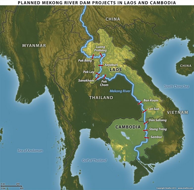 Planned Mekong River Dam Projects in Laos and Cambodia