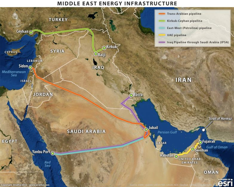 Middle East Map Strait Of Hormuz.Oil Export Alternatives To The Strait Of Hormuz