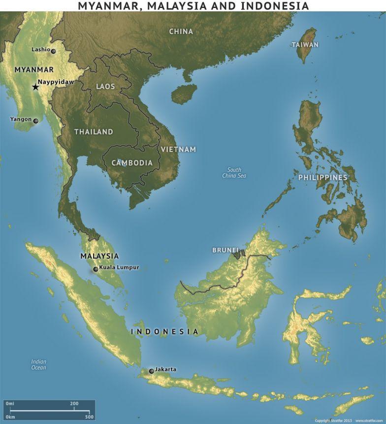 Indonesia, Malaysia and Myanmar