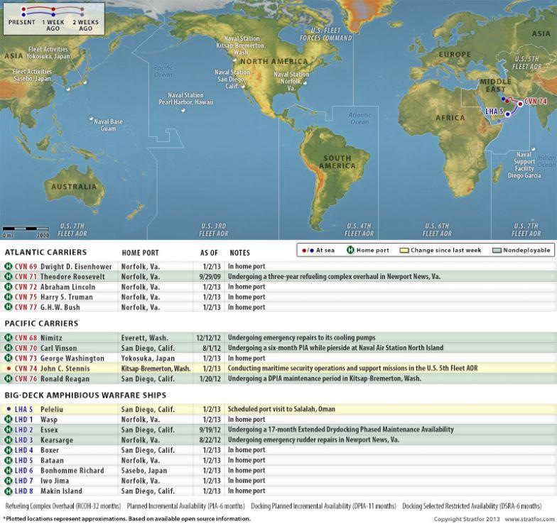 U.S. Naval Update Map: Jan. 2, 2013