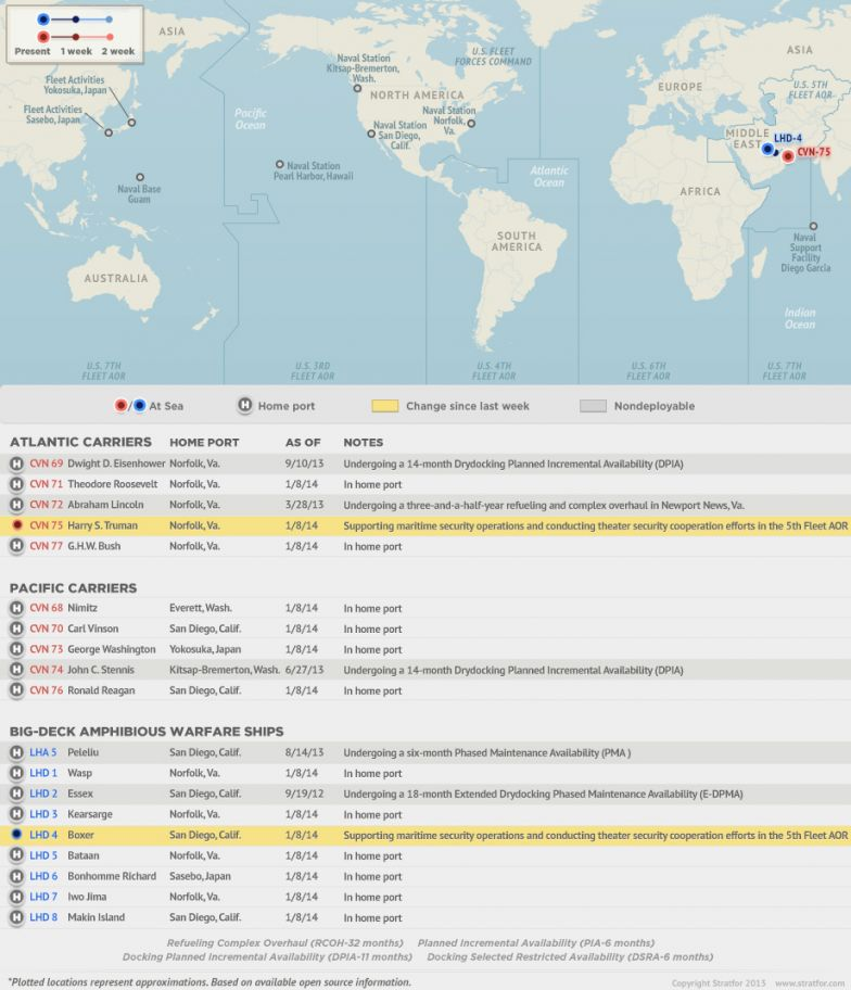U.S. Naval Update Map: Jan. 9, 2014