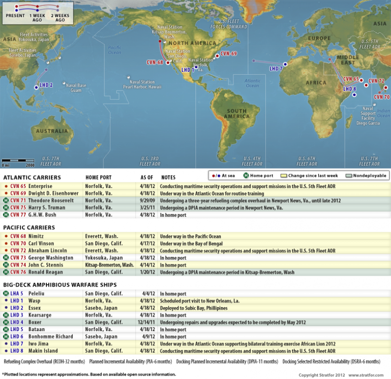 Us Naval Update Map April 18 2012rhworldviewstratfor: Us Navy Ship Locations Current At Gmaili.net
