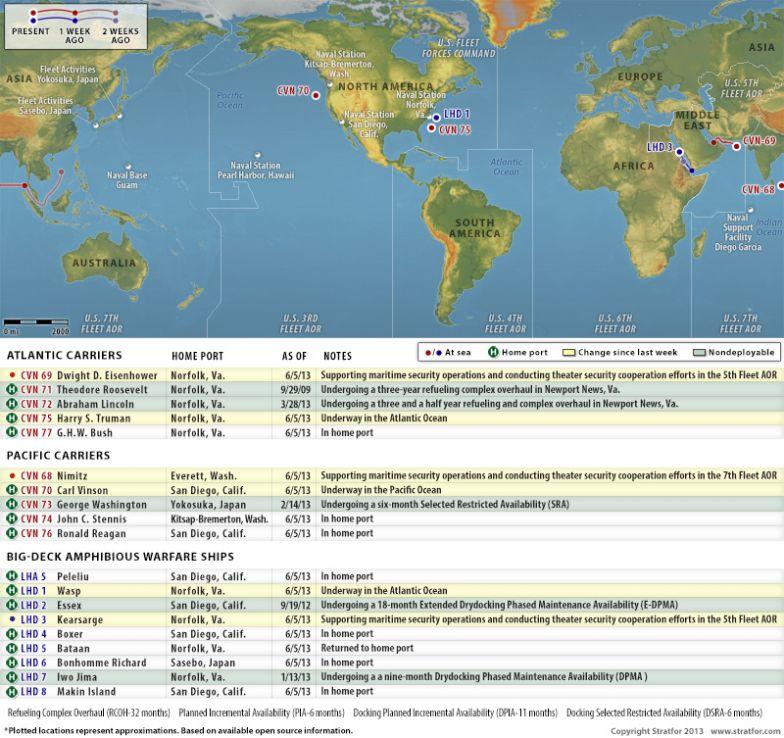 U.S. Naval Update Map: June 6, 2013