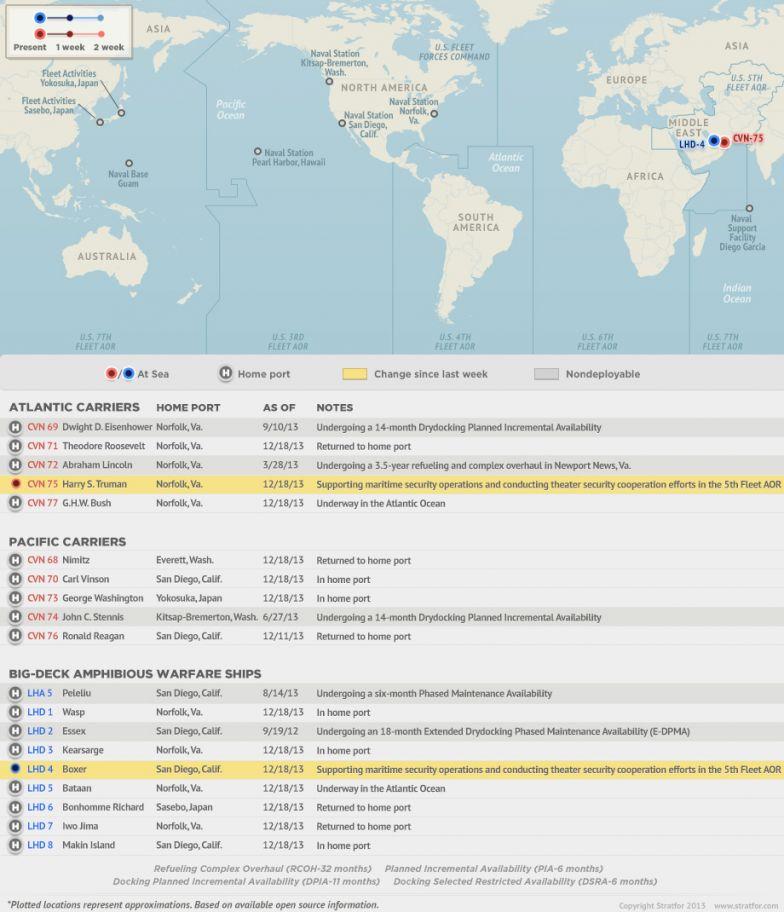 U.S. Naval Update Map: Dec. 31, 2013