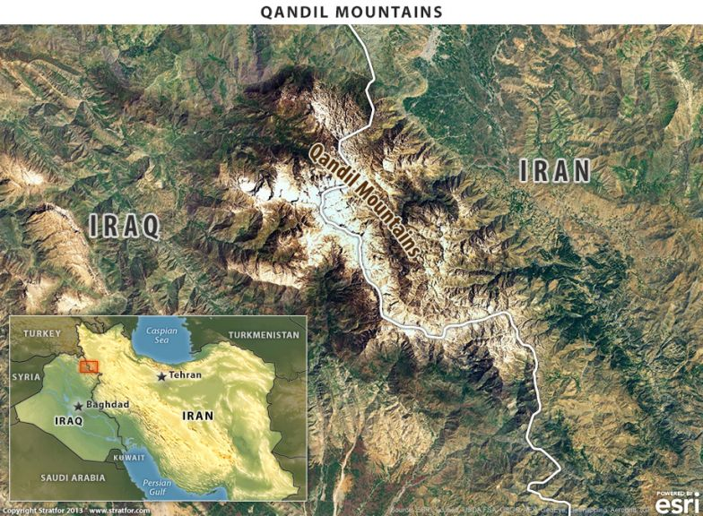 Map of Qandil Mountains