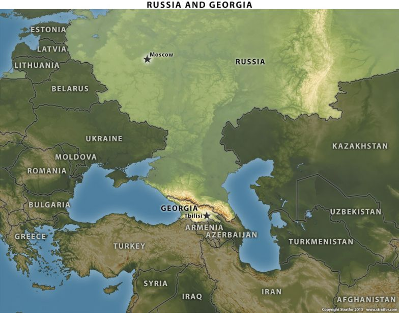 Map of Russia and Georgia