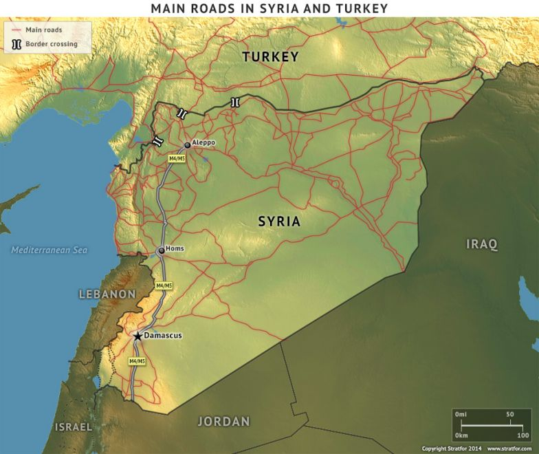 Main Roads in Syria and Turkey