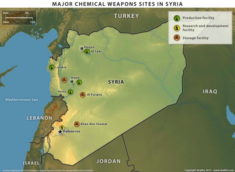 Major Chemical Weapons Sites in Syria